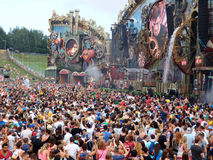 Music wonderland. View of the main stage with spinning watermill at the Tomorrowland festival in the town of Boom, Belgium (Friday, 25th of July 2014 Stock Photos