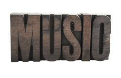 'MUSIC' in wood letters Royalty Free Stock Photos