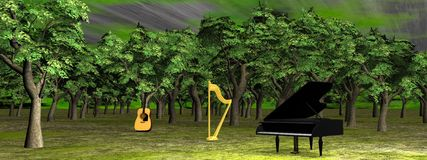 Music in the woods - 3D render Stock Photo
