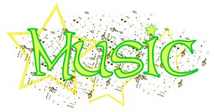 Music word. An abstract illustration representing the word music Royalty Free Stock Image