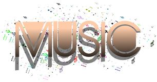 Music word with notes isolated Royalty Free Stock Photos