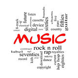 Music Word Cloud Concept in Red Caps. With great terms such as rock n roll, rap, pop, download, lp and more Royalty Free Stock Photography