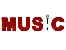 Music Word And Mic Shows Talent Show Or Concert. Music Word And Mic Shows Talent Showing Or Concert Royalty Free Stock Image