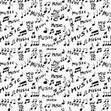 Music word and musical notes seamless Stock Photo