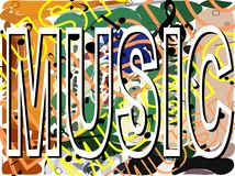 Music word with notes on background isolated royalty free illustration