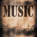 Music word, old rusty wall Royalty Free Stock Images