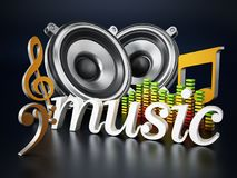 Music word, speakers, music notes and equalizer. 3D illustration Royalty Free Stock Photos