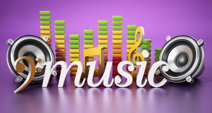 Music word, speakers, music notes and equalizer. 3D illustration Stock Image