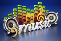 Music word, speakers, music notes and equalizer. 3D illustration Stock Photo