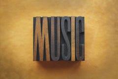 Music. The word MUSIC written in vintage letterpress type stock photo