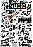 Music words seamless background Royalty Free Stock Image