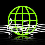 Music World. Elegant music emblem with musical symbols and green globe with reflection over black background Royalty Free Stock Photo