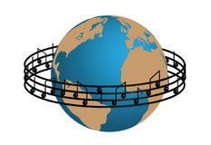 Music world. Music note around the world Royalty Free Stock Photos
