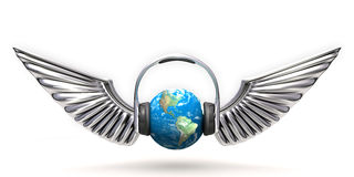 Music world. An illustration of a planet in headphones with wings Stock Photos