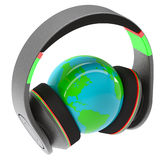 Music of the world. Headphones on the planet. Isolated render on a white background Royalty Free Stock Photo