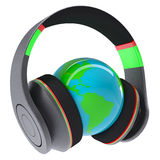 Music of the world. Headphones on the planet. Isolated render on a white background Stock Photos