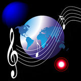 Music world and the internet. An image showing musical notes on a blurr background with a drawing of the whole world Royalty Free Stock Photo