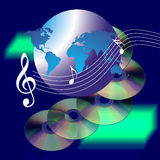 Music world the internet and CD. An image showing cd music discs and musical notes on a blurr background with a drawing of the whole world or internet Royalty Free Stock Photos