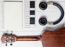 Music writing Equipments on table. Stock Photos