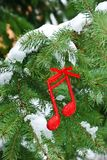 Music  xmas background with music notes on a tree branch with snow Stock Photos
