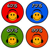Music years. Listening to music from the sixties to the nineties Royalty Free Stock Photography