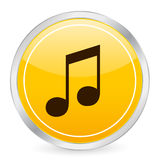 Music yellow circle icon Royalty Free Stock Photo