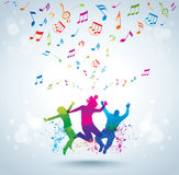 Music and young people. Concept background. Happy jumping people. Music background Royalty Free Stock Photos