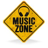Music Zone Sign. Grunge Metal Roadside Highway Rusted Vintage Antique Tin Old yield jazz country pop rock Austin Memphis vector illustration