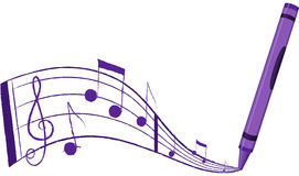 Musica che esce da un pastello - vettore Illustratio Immagine Stock Libera da Diritti