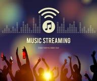Musica che scorre concetto dell'equalizzatore di download di spettacolo di media Fotografie Stock
