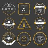Musica classica e della discoteca della roccia, di rap, dei distintivi di vettore Immagini Stock Libere da Diritti