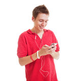 Musica d'ascolto del tirante di smiley Fotografie Stock Libere da Diritti