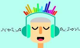 Musica d'ascolto dell'uomo Illustratore grafico Immagine Stock Libera da Diritti