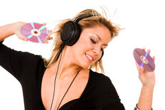 Musica d'ascolto della donna Fotografia Stock