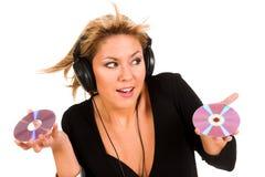 Musica d'ascolto della donna Immagine Stock Libera da Diritti