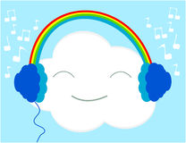Musica d'ascolto della nuvola Immagini Stock