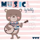 Musica dall'orsacchiotto con l'illustrazione di vettore della chitarra Fotografie Stock Libere da Diritti