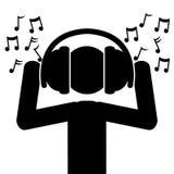 Musica dalle cuffie Immagini Stock