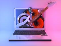 Musica del computer portatile Immagini Stock Libere da Diritti