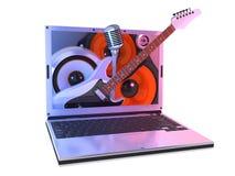 Musica del computer portatile Fotografia Stock