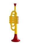 Musica della tromba affinchè bambini giochino su un fondo bianco isolato Fotografia Stock