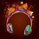 Musica delle foglie e delle cuffie di autunno Fotografie Stock Libere da Diritti