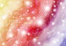 Musica dello spazio Fondo astratto con spazio fantastico ed i simboli musicali immagini stock libere da diritti