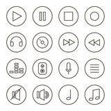 Musica descritta monocromio, audio, insieme sano dell'icona di vettore, raccolta isolata su fondo bianco Immagine Stock