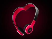 Musica di amore di forma del cuore della cuffia Fotografia Stock Libera da Diritti