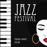 Musica di jazz, modello del fondo del manifesto Fotografie Stock Libere da Diritti