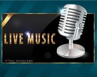Musica in diretta, manifesto del partito di karaoke - vector eps10 illustrazione di stock