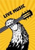 Musica in diretta Zampa animale con la chitarra Fondo musicale del manifesto per il concerto rock Illustrazione di vettore di sti illustrazione di stock