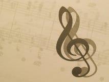 Musica e clef triplo Fotografia Stock Libera da Diritti