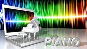 Musica e computer portatile del piano Fotografia Stock
